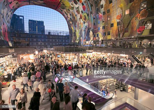 People shopping at the Markthal in Rotterdam