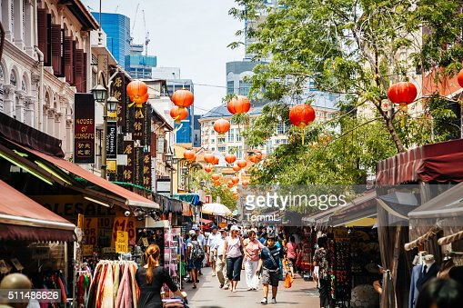 People Shopping in Chinatown, Singapore