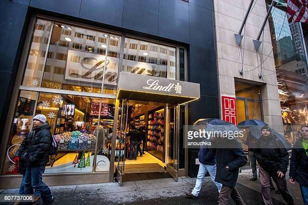 People shopping in New York during winter holidays, USA