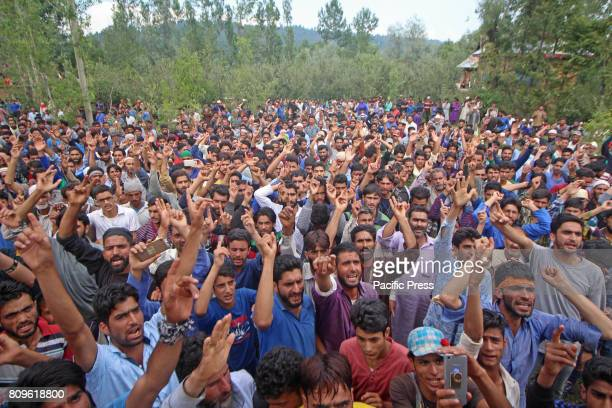 People shout pro freedom slogan during the funeral prayers of Jehangir Ahmad Khanday of Keller area of Shopian district Six homes were destroyed...