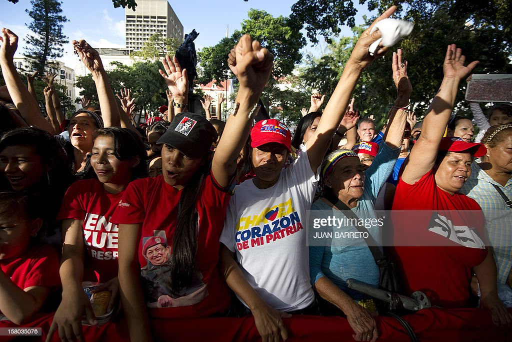 People shout slogans during a rally in support of Venezuelan President Hugo Chavez, in Caracas on December 9, 2012. Chavez was poised to head to Cuba Sunday for more cancer surgery, after speaking for the first time of a successor in this oil-rich nation he so thoroughly dominates should he not recover. Treatment is 'absolutely necessary,' the leftist leader said in a bombshell statement on state television in which he admitted he may have to give up the presidency and that Vice President Nicolas Maduro is his chosen successor. AFP PHOTO