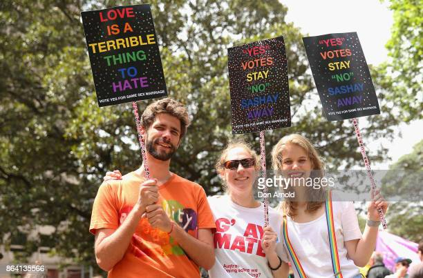 People show their support at the YES March for Marriage Equality on October 21 2017 in Sydney Australia Australians are currently taking part in the...