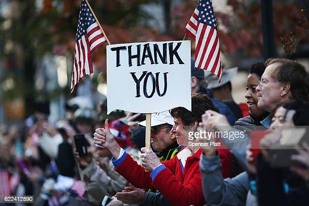People show their support to veterans during the Veterans Day Parade in New York City on November 11 2016 in New York City Known as 'America's...