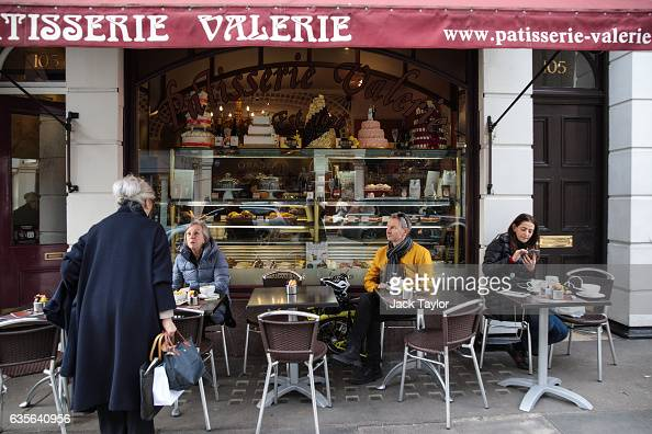 People sit at a Patisserie Valerie in Marylebone on February 16 2017 in London England The Association for Licensed Multiple Retailers have written...