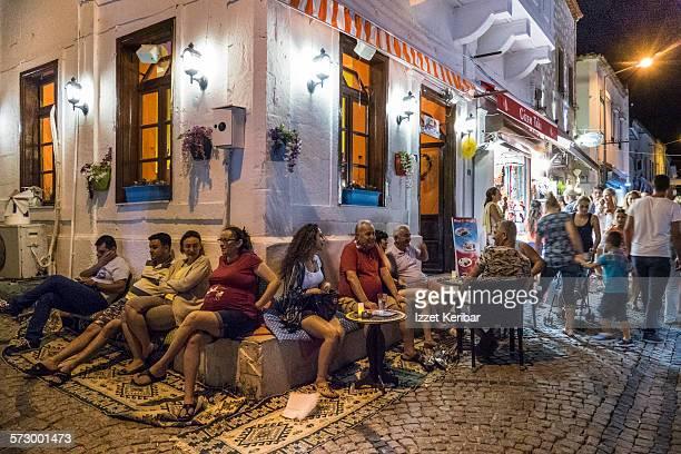 People sitting at Alacati cafe, Izmir, Turkey
