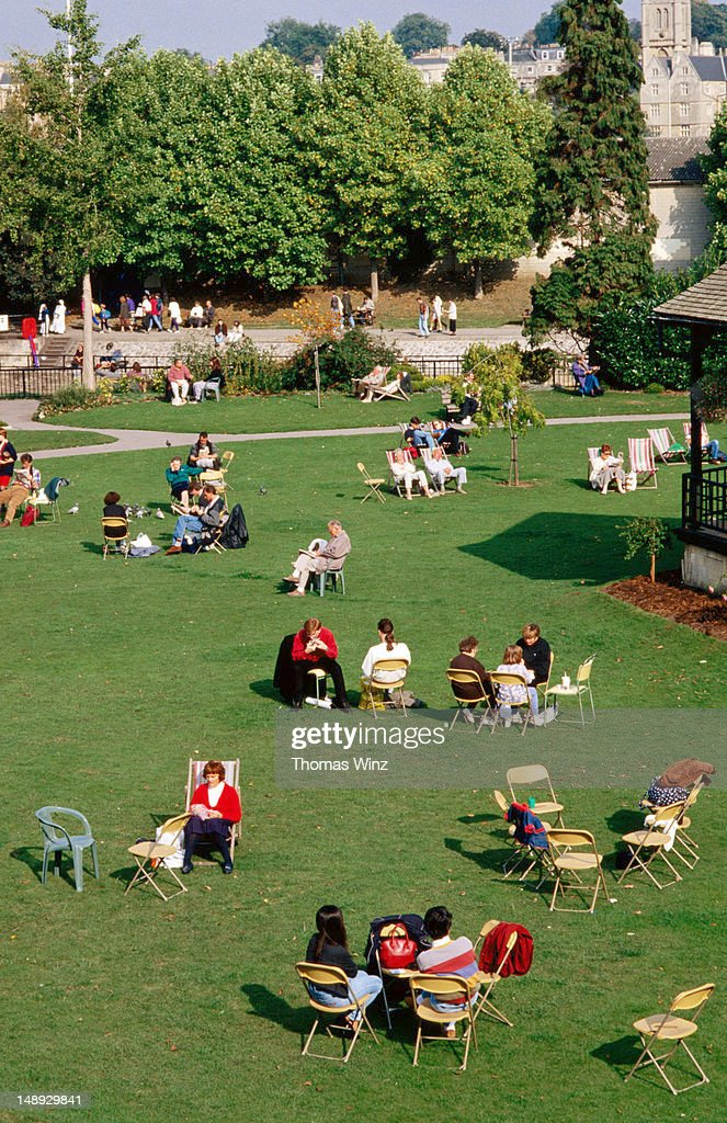 People sitting in park. : Stock Photo