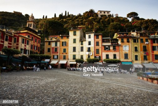 People sitting outside cafes in Portofino