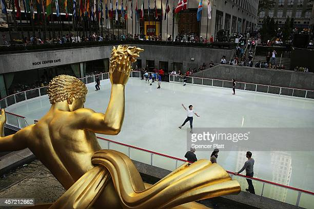 People skate at the recently opened Rink at Rockefeller Center on October 14 2014 in New York City New York City's most famous ice rink opened for...