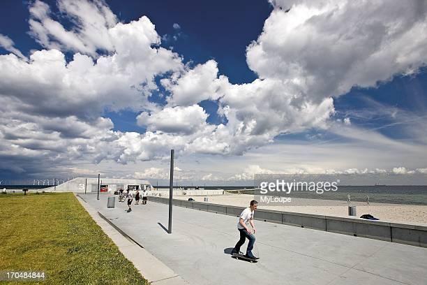 People skateboarding at Strandpark Amager Copenhagen Denmark