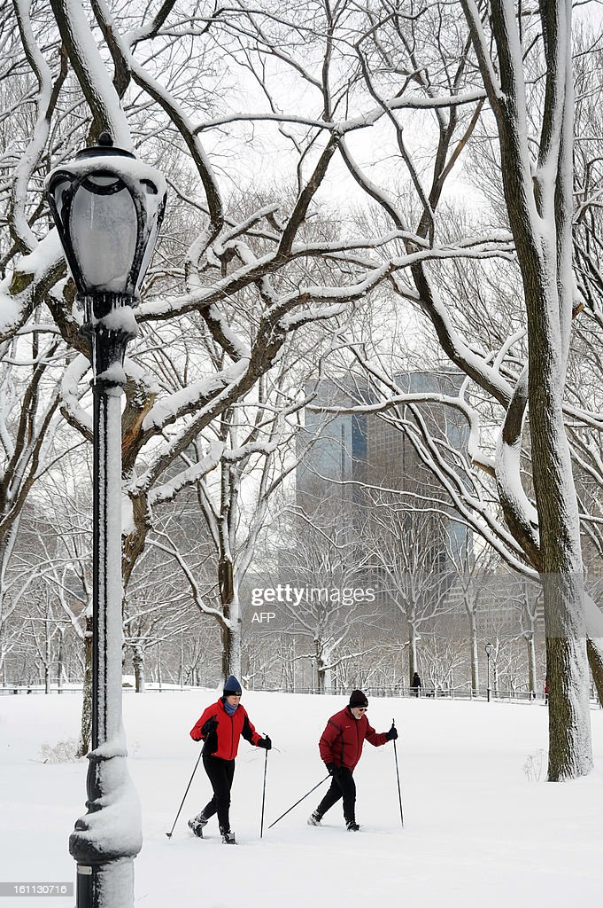 People ski in Central Park after winter storm Nemo covered New York City with 4 to 8 inches (10-20cms) of snow on February 9, 2013. The storm was forecast to bring the heaviest snow to the densely-populated northeast corridor so far this winter, threatening power and transport links for tens of millions of people and the major cities of Boston and New York. New York and other regional airports saw more than 4,500 cancellations ahead of what the National Weather Service called 'a major winter storm with blizzard conditions' along most of the region's coastline. AFP PHOTO / MEHDI TAAMALLAH