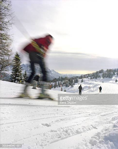 People skiing, rear view (blurred motion)