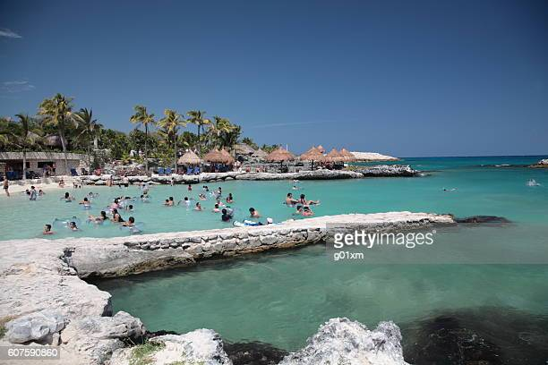 People snorkeling at Xcaret, Mexico