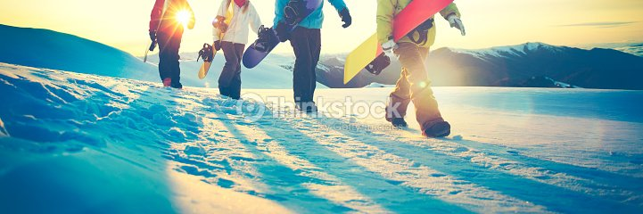 People Snowboard Winter Sport Friendship Concept