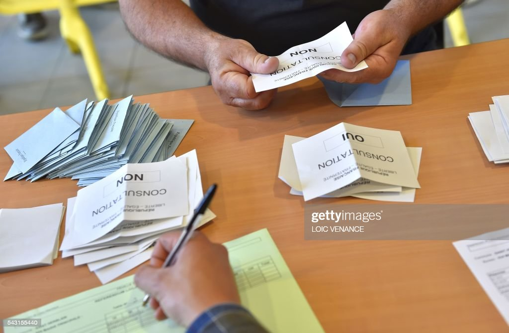 People sort the ballots on June 26, 2016, in Nantes during a local referendum organized in Loire Atlantique regarding the transfer of the Nantes Atlantique airport to Notre-Dame-des-Landes. Nearly One million people living in France's Loire-Atlantique department are voting in a referendum which poses the question 'Are you in favour of the project to transfer the Nantes-Atlantique airport to the municipality of de Notre-Dame-des-Landes?' to voters. The referendum was organised by the French executive power hoping to find a solution to the issue which has dragged on for 50 years.
