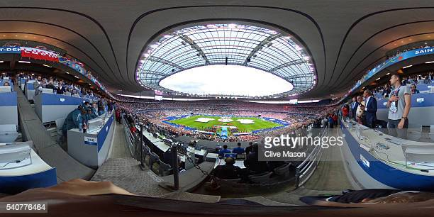 People stand during opening ceremonies for the UEFA EURO 2016 Group C match between Germany and Poland at Stade de France on June 16 2016 in Paris...