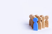 People stand in the formation of the pins. A game of bouwling. Wooden figures of persons, on a white background. The concept of business management personnel and the achievement of goals.