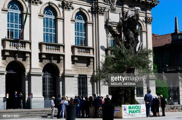 People stand near a 1000 years old and 12 meters high olive tree exhibited at the Leonardo da Vinci park on May 13 2017 in Milan The olive tree will...