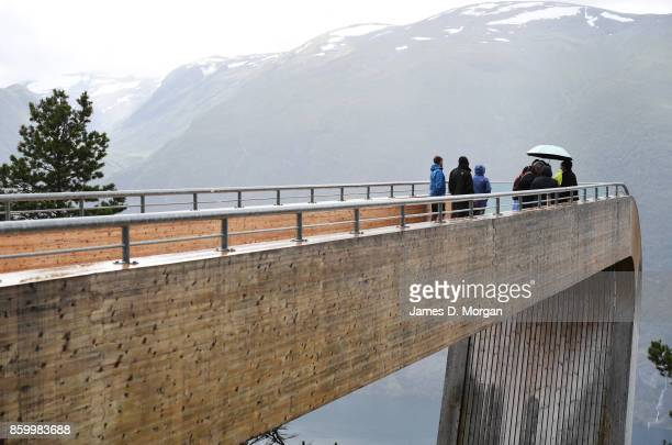 People standing at stegastein lookout in Norway on February 8th 2017 in Norway