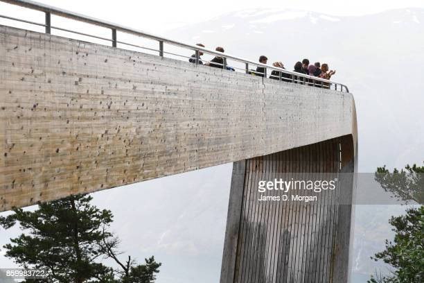 People standing at stegastein lookout in Norwayon February 8th 2017 in Norway