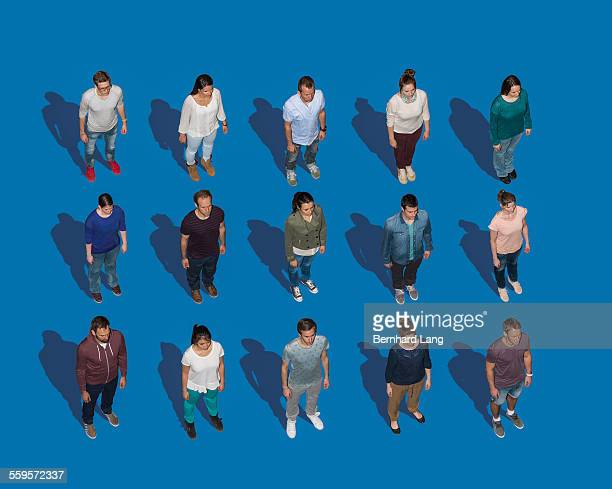 People standing in a perfect grid, Aerial View