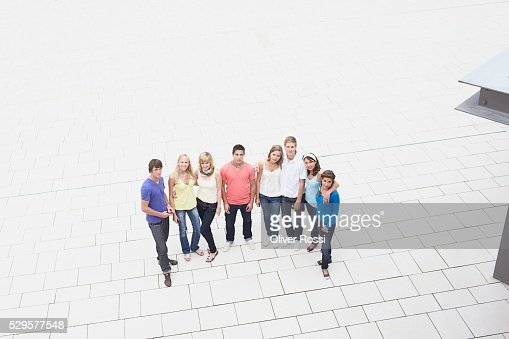 People Standing in Plaza : Bildbanksbilder