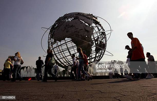People stream into Flushing Meadows Corona Park before the start of the Billy Graham Crusade June 24 2005 in the Queens borough of New York Flushing...