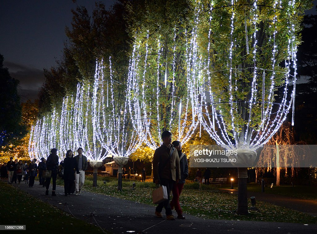 People stroll under champagne glasses shaped illumination with 60,000 white LED lights at a shopping mall in Tokyo on November 25, 2012. Shoppers enjoyed a Christmas atmosphere with hundreds of thousands of LED lights illumination. AFP PHOTO / Yoshikazu TSUNO