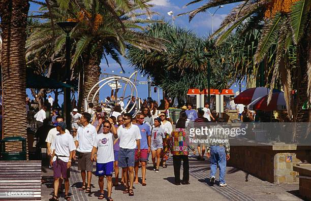 People strolling Caville Avenue Mall in Surfers Paradise.
