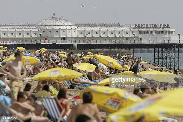 People sunbathing on Brighton Beach on July 19 2006 in Brighton England Today is expected to become the hottest day of the year in Britain with...