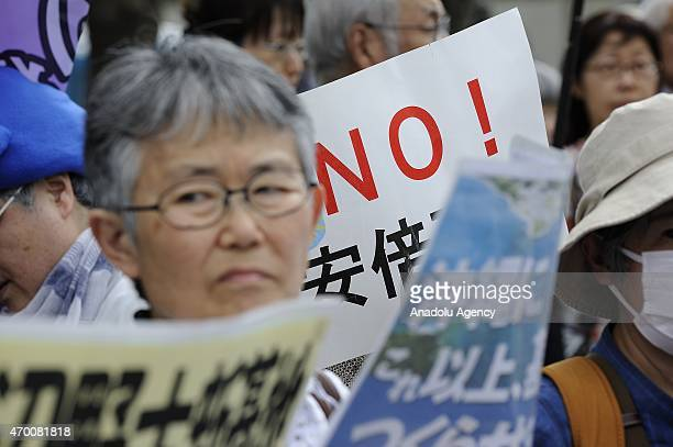People supporting Okinawa Governor Takeshi Onaga gathered in front of Residence of Prime Minister in Tokyo Japan on April 17 to protest against the...