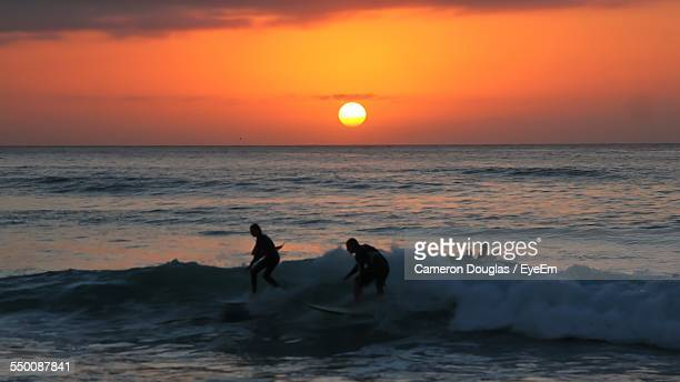 People Surfboarding On Sea Against Sky During Sunset