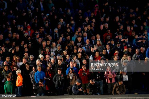 People surround the Cenotaph for the Dawn Service at the Auckland War Memorial Museum on April 25 2017 in Auckland New Zealand In 1916 the first...