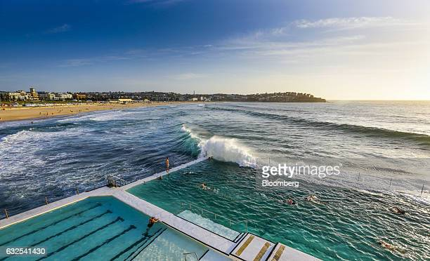 People swim in a pool at the Bondi Icebergs Swimming Club at Bondi Beach in Sydney Australia on Monday Jan 23 2017 Australia is leading a push to...
