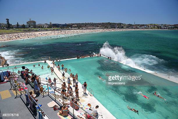 People swim in Bondi Icebergs Pool which is located at the south end of Bondi Beach in Sydney New South Wales Australia