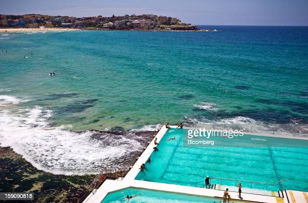 People swim in the pool of the Bondi Icebergs Swimming Club at Bondi Beach in Sydney Australia on Monday Jan 7 2013 The Bureau of Statistics is...