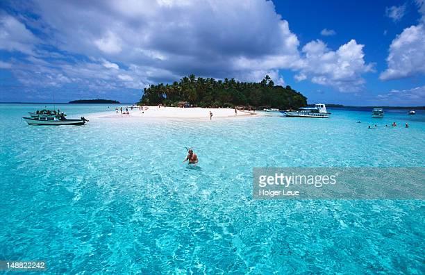 People swimming around the Island.