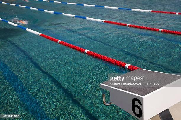 People swimming in outdoor swimming pool, Lido Locarno, Locarno, Ticino, Switzerland