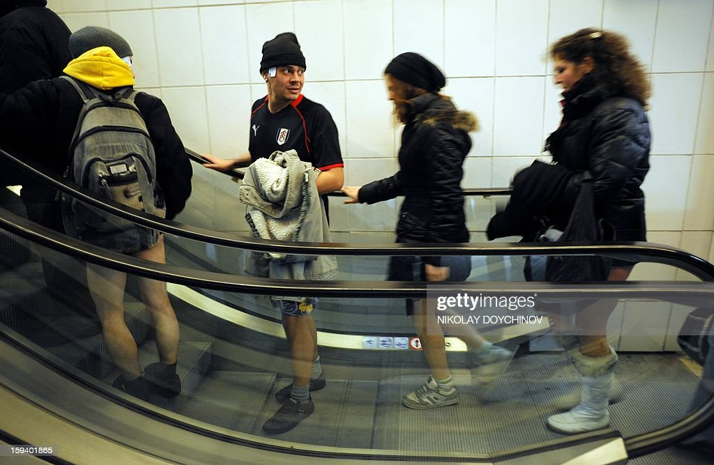 People take an escalator in underwear in the Sofia City subway as they take part in the 2013 No Pants Subway Ride on January 13, 2013 in the Bulgarian capital. The No Pants Subway Ride, in its 12th year, still surprises passengers on public transit and is spreading to many cities across the globe.