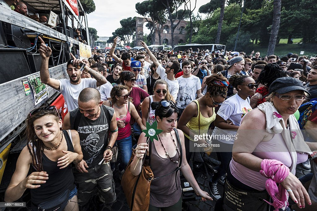 People take part at the Global Marijuana March in Rome to ask for the legalization of marijuana on Saturday, May 10, 2014. Thousands of people marched downtown in Rome during the Global Marijuana March, an annual rally held at different locations across the planet, demanding the legalization of marijuana and changes in drug policies. The Global Marijuana March (GMM) also goes by the name of the Worldwide Marijuana March (WMM) or Million Marijuana March (MMM).