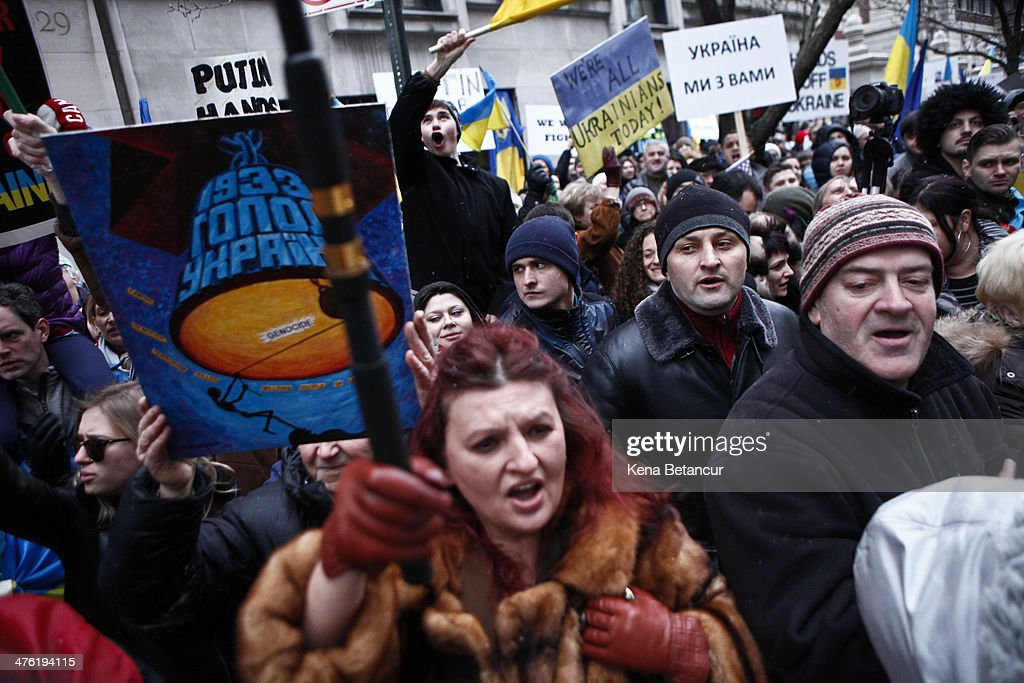 Demonstration Held In New York Against Russia's Recent ...