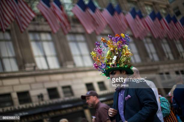 People take part during the Annual Easter parade on April 16 2017 in New York City The Easter Parade and Easter Bonnet Festival is characterized by...