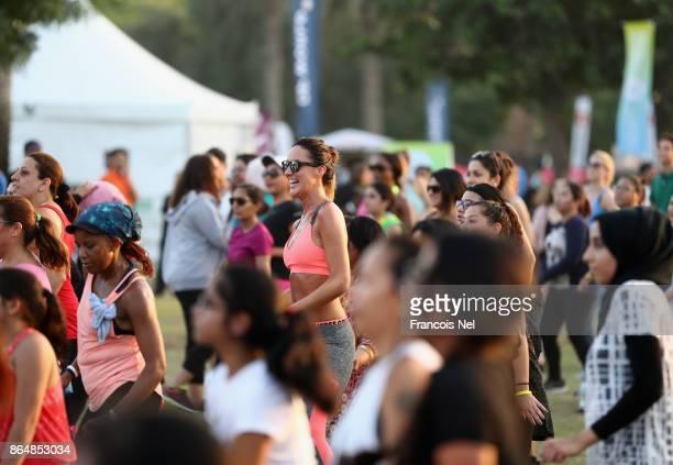 People take part during the Dubai Fitness Challenge Opening Carnival at Safa Park on October 21 2017 in Dubai United Arab EmiratesThe inaugural Dubai...
