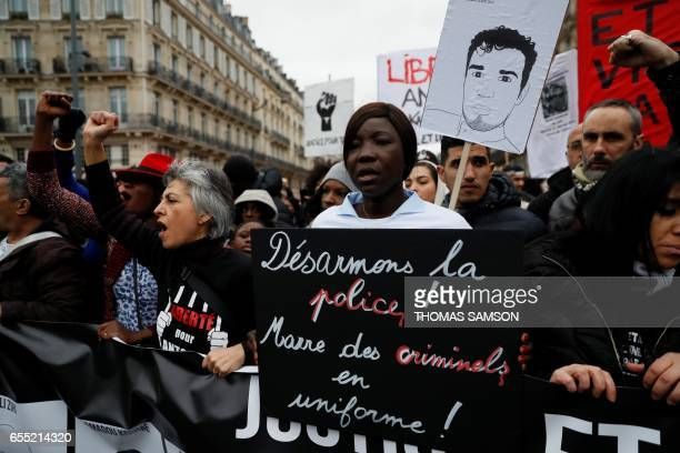 People take part in a demonstration called by the families of the victims of alleged police brutality LDH the Mrap CGT and FSU against police...