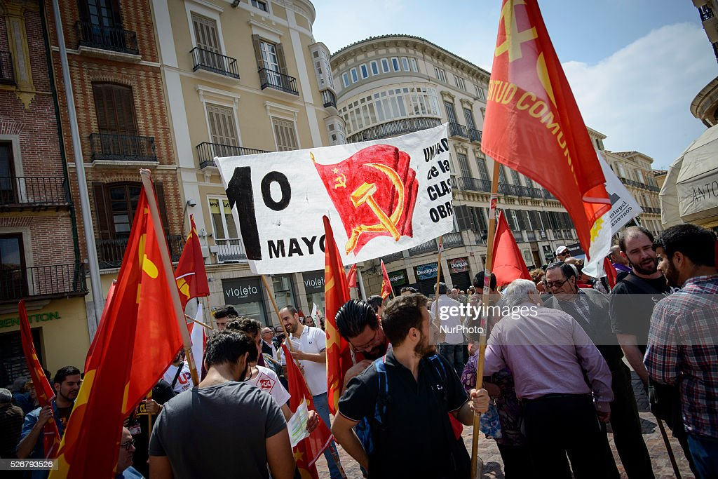 People take part in a demonstration during the International Labour Day, in Malaga, Spain, on May 1, 2016.