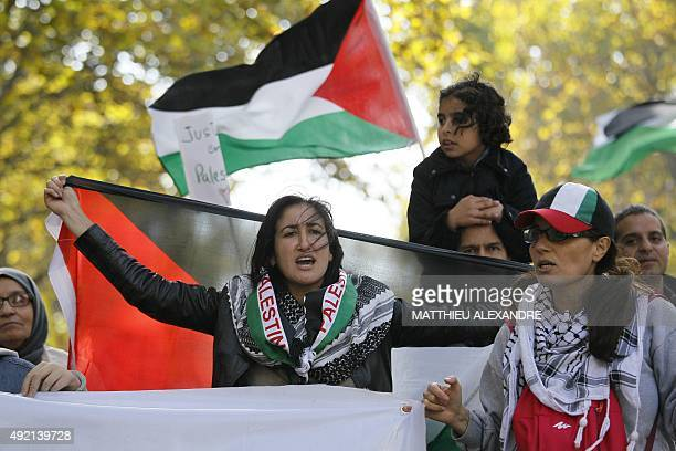 People take part in a proPalestinian demonstration on October 10 2015 in Paris calling for a boycott of Israel and for the recognition of the State...