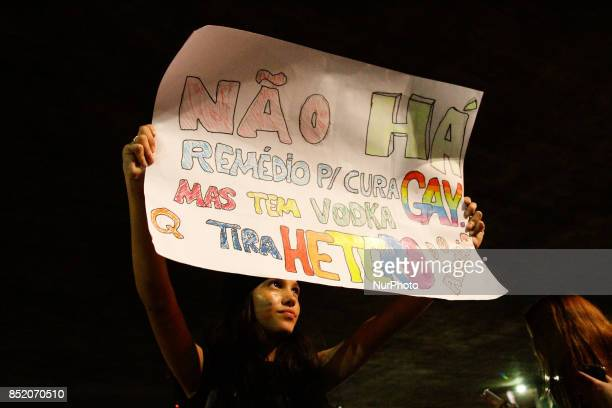 People take part in a protest on Paulista Avenue central region of Sao Paulo Brazil on 22 September 2017 against the decision of Judge Waldemar...