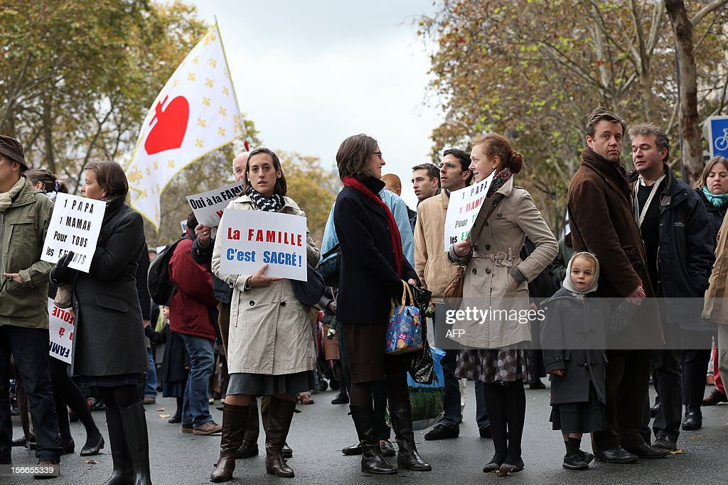 People take part in a protest organized by fundamentalist Christians group Civitas Institute against the same-sex marriage on November 18, 2012 in Paris. France's Socialist government on November 7, 2012 adopted a draft law to authorise gay marriage and adoption despite fierce opposition from the Roman Catholic Church and the right-wing opposition.
