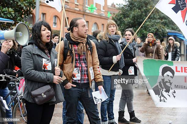 People take part in a protest to support Georges Ibrahim Abdallah a propalestinian militant in Toulouse southwestern France on January 26 2013 French...