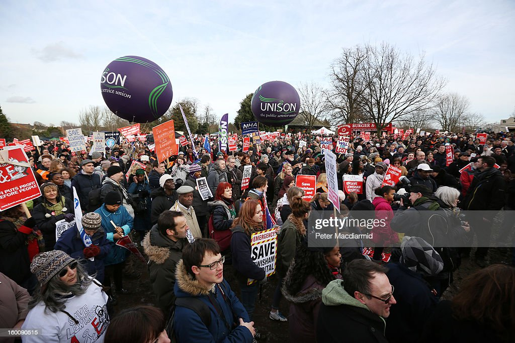 People take part in a public demonstration against the closure of some services at Lewisham Hospital on January 26, 2013 in Lewisham, London, England. Thousands of people from around the country took part in the demonstration and rally in Lewisham today in protest against Government proposals to close Accident & Emergency, Intensive Care, maternity and children's services at Lewisham Hospital.