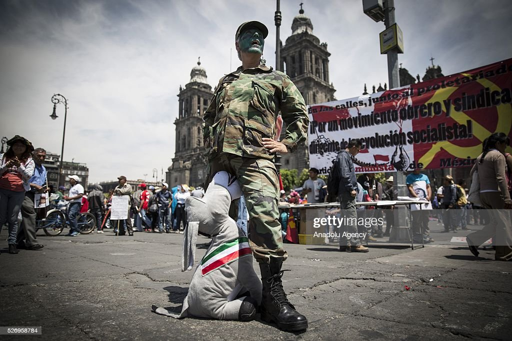 People take part in a rally to mark May Day, International Workers' Day in Mexico City, Mexico on May 01, 2016.